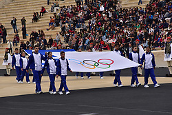 October 31, 2017 - Athens, Attiki, Greece - Olympic Flag is entering the Panathenaic Stadium. The Handover Ceremony of the Olympic Flame for Winter Games PYEONGCHANG 2018, took place today in Panathenaic Stadium in the presence of the President of Hellenic Republic Prokopis Pavlopoulos. (Credit Image: © Dimitrios Karvountzis/Pacific Press via ZUMA Wire)