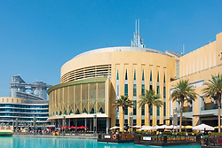 Daytime view of Dubai Mall exterior in Downtown Dubai, United Arab Emirates, UAE