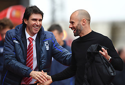 Nottingham Forest manager Aitor Karanka (left) and Rotherham United manager Paul Warne during the Sky Bet Championship match at the City Ground, Nottingham.