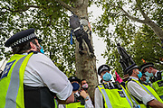 XR Climbers occupied five trees of the Parliament Gardens opposite Supreme Court in central London on Wednesday, Sept 2, 2020. Over 90 people have been arrested so far as Extinction Rebellion protesters swarm central London. (VXP Photo/ Vudi Xhymshiti)