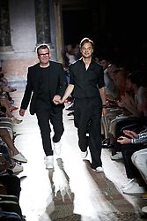 MILAN, June 17, 2017  Designers Tom Notte (L) and Bart Vandebosch acknowledge the audience at the Les Hommes' show during Milan men's Fashion Week Spring/Summer 2018 in Milan, Italy, on June 17, 2017. (Credit Image: © Jin Yu/Xinhua via ZUMA Wire)
