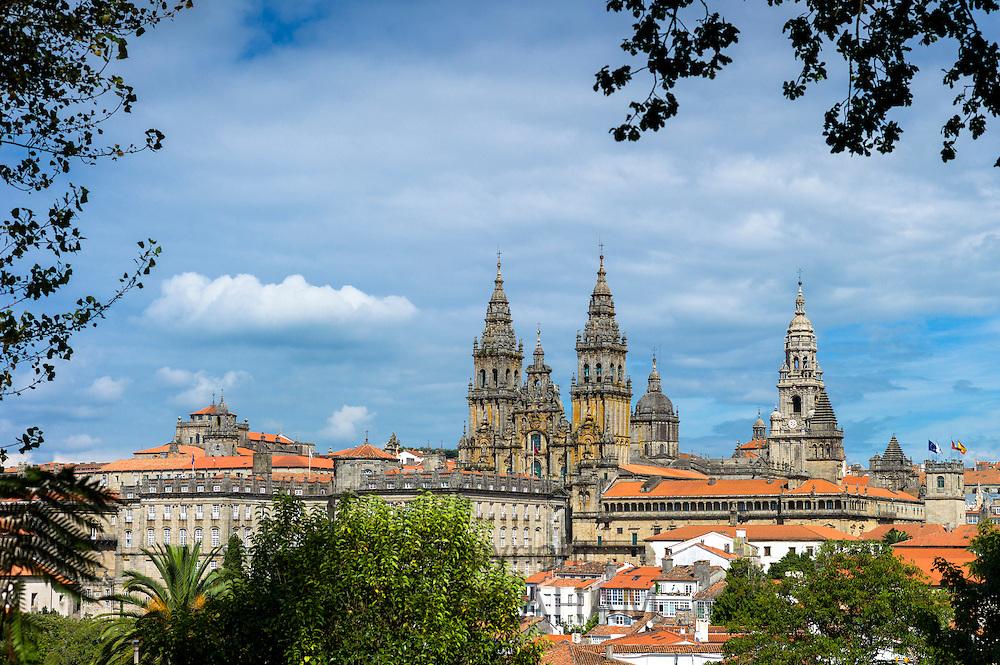 Catedral de Santiago de Compostela, Roman Catholic cathedral complex  cityscape from Alameda Park, Galicia, Northern Spain