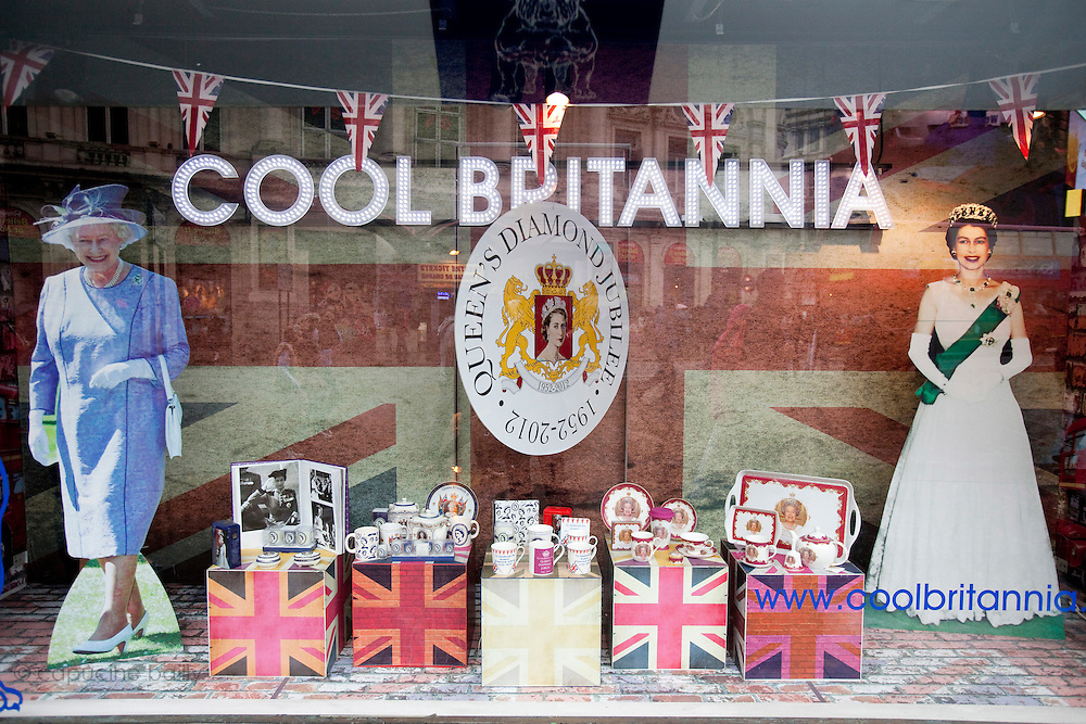London, United Kingdom. June 3rd 2012..Queen Elizabeth II Diamond Jubilee 1952-2012.A store window on Piccadilly Circus