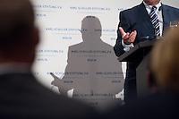"""03 AUG 2009, BERLIN/GERMANY:<br /> Frank-Walter Steinmeier, SPD, Bundesaussenminister und Kanzlerkandidat, Veranstaltung der Karl-Schiller-Stiftung zum Thema """"Die Arbeit von morgen - Politik fuer das naechste Jahrzehnt"""", Baerensaal, Altes Stadthaus<br /> IMAGE: 20090803-02-093<br /> KEYWORDS: Schatten, Deutschland-Plan, Rede, speech"""