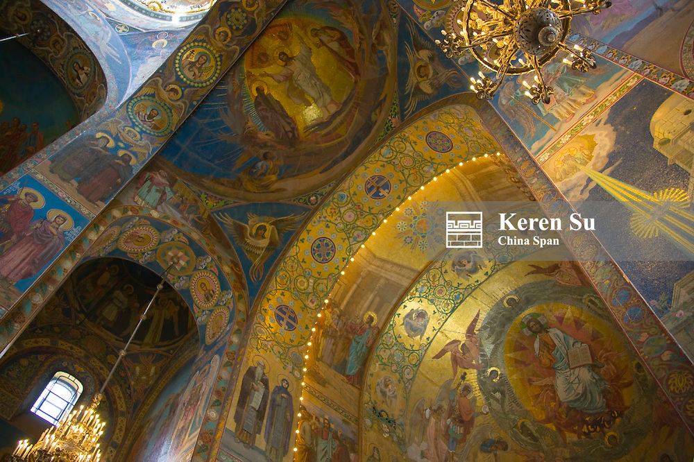 Inside Church of the Savior on Spilled Blood, St. Petersburg, Russia