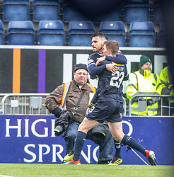 Falkirk's Ian McShane celebrates after scoring their goal. Falkirk 1 v 1 Partick Thistle, Scottish Championship game played 16/3/2019 at The Falkirk Stadium.