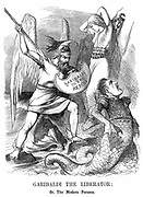 Unification of Italy: Giuseppe Garibaldi (1807-1882), Italian Patriot, conquering Sicily and Naples on behalf of the new kingdom of Italy. John Tenniel cartoon from 'Punch', London, 16 June 1860. Wood engraving