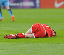 Bristol Academy Womens' Natalia Pablos Sanchon gets fouled. - Photo mandatory by-line: Nizaam Jones- Mobile: 07583 387221 - 28/09/2014 - SPORT - Women's Football - Bristol - SGS Wise Campus - BAWFC v Man City Ladies - sport