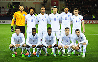 The England players pose for a photograph before kick off.  Back row, from left, Angus Gunn, Isaiah Brown, Brendan Galloway, Bamidele Alli, Ruben Loftus-Cheek and Bryn Morris.  Front row, from left, Ben Chilwell, Joshua Aina, Ashley Smith-Brown, Brandon Barker and Patrick Roberts <br /> <br /> Photographer Chris Vaughan/CameraSport<br /> <br /> U19 International Football Friendly - England U19 v Italy U19 - Friday 14th November - New York Stadium - Rotherham<br /> <br /> © CameraSport - 43 Linden Ave. Countesthorpe. Leicester. England. LE8 5PG - Tel: +44 (0) 116 277 4147 - admin@camerasport.com - www.camerasport.com