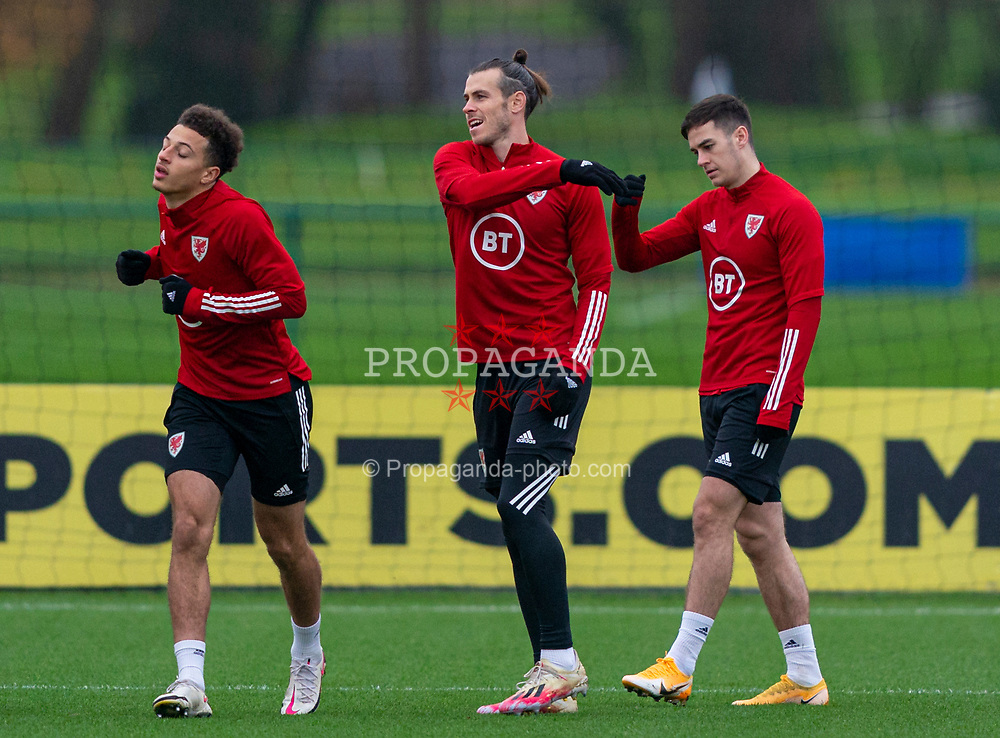 CARDIFF, WALES - Tuesday, November 17, 2020: Wales' (L-R) Ethan Ampadu, captain Gareth Bale and Tom Lawrence during a training session at the Vale Resort ahead of the UEFA Nations League Group Stage League B Group 4 match between Wales and Finland. (Pic by David Rawcliffe/Propaganda)