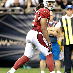 Sep 22, 2013; New Orleans, LA, USA; Arizona Cardinals wide receiver Larry Fitzgerald (11) against the New Orleans Saints during a game at Mercedes-Benz Superdome. The Saints defeated the Cardinals 31-7. Mandatory Credit: Derick E. Hingle-USA TODAY Sports