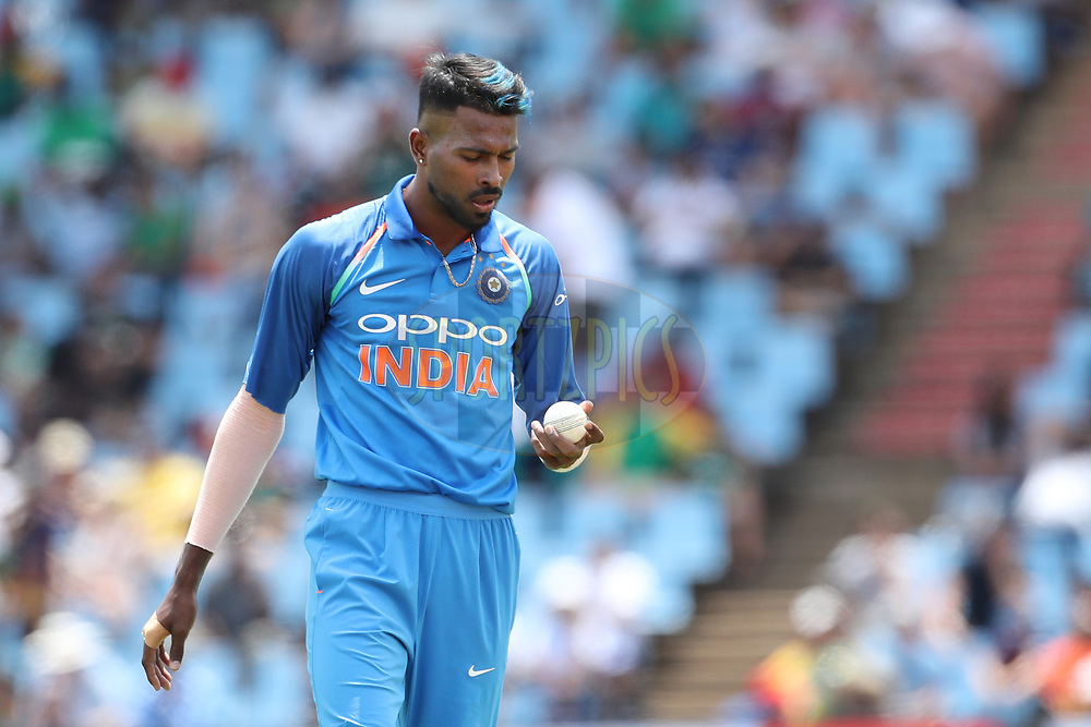 Hardik Pandya of India  during the 2nd One Day International match between South Africa and India held at Supersport Park Cricket Ground in Centurion on the 4th Feb 2018 <br /> <br /> Photo by Ron Gaunt / BCCI / SPORTZPICS