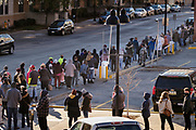 31 OCTOBER 2020 - DES MOINES, IOWA: The line to cast an early vote at the Polk County Auditor's Office in Des Moines. This is the last weekend of early voting before the 2020 US presidential election. The line to vote at the Polk County Auditor's Office was 5 blocks long Saturday morning. An elections official said that by November 3, which is Election Day, about 45 percent of the registered voters in Polk County will have already voted.     PHOTO BY JACK KURTZ