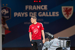 NICE, FRANCE - Wednesday, June 2, 2021: Wales' Connor Roberts on the pitch before an international friendly match between France and Wales at the Stade Allianz Riviera ahead of the UEFA Euro 2020 tournament. (Pic by Simone Arveda/Propaganda)