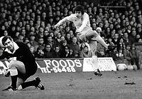 Referee Mr Jack Taylor gets hit by the full force of Peter Lorimer's shot. Peter wasn;t too happy either<br /> Ipswich Town v Leeds United. 08/12/1973. <br /> Credit : Colorsport