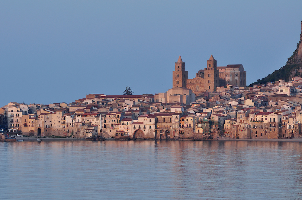 The historic town of Cefalu on the coast of Sicily, Italy.