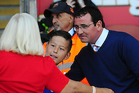 Blackpool manager Gary Bowyer poses for a picture with a young fan<br /> <br /> Photographer Kevin Barnes/CameraSport<br /> <br /> Football - The EFL Sky Bet League Two - Blackpool v Exeter City - Saturday 6th August 2016 - Bloomfield Road - Blackpool<br /> <br /> World Copyright © 2016 CameraSport. All rights reserved. 43 Linden Ave. Countesthorpe. Leicester. England. LE8 5PG - Tel: +44 (0) 116 277 4147 - admin@camerasport.com - www.camerasport.com