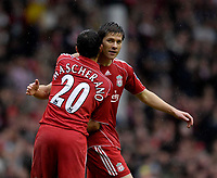 Photo: Jed Wee/Sportsbeat Images.<br /> Liverpool v Charlton Athletic. The Barclays Premiership. 13/05/2007.<br /> <br /> Liverpool's Javier Mascherano congratulates goalscorer Xabi Alonso.