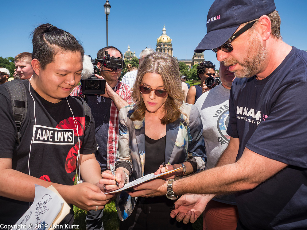 09 JUNE 2019 - DES MOINES, IOWA: Author MARIANNE WILLIAMSON, a Democratic candidate for the US presidency, campaigns in the crowd at Capital City Pride Fest. Many of the Democratic presidential candidates campaigned at Capital City Pride Fest in Des Moines Saturday. Iowa traditionally hosts the the first selection event of the presidential election cycle. The Iowa Caucuses will be on Feb. 3, 2020.                   PHOTO BY JACK KURTZ