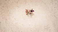 Aerial selfie of 5 friends on the beach in Sardinia, Italy.