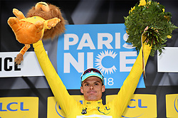 March 9, 2018 - Sisteron, FRANCE - Spanish Luis Leon Sanchez of Astana Pro Team celebrates on the podium in the yellow jersey of leader in the overall ranking after the sixth stage of the 76th edition of Paris-Nice cycling race, 188km from Sisteron to Vence, France, Friday 09 March 2018. The race starts on the 4th and ends on the 11th of March. BELGA PHOTO DAVID STOCKMAN (Credit Image: © David Stockman/Belga via ZUMA Press)