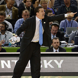 Mar 31, 2012; New Orleans, LA, USA; Kentucky Wildcats head coach John Calipari reacts against the Louisville Cardinals during the second half in the semifinals of the 2012 NCAA men's basketball Final Four at the Mercedes-Benz Superdome. Mandatory Credit: Derick E. Hingle-US PRESSWIRE