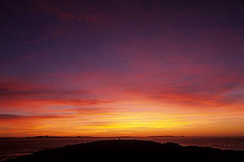 Australia, Evening sunset on Vivonne Bay and lighthouse. Kangaroo Island. Australia.