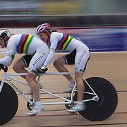 Felicity Johnson, (left) and Stephanie Morton, Australia, in action during the Para-Cycling Women 1000m Time Trial at the 2012 Oceania WHK Track Cycling Championships, Invercargill, New Zealand. 21st November 2011. Photo Tim Clayton...