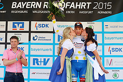 Radsport: 36. Bayern Rundfahrt 2015 / 3. Etappe, Selb - Ebern, 15.05.2015<br /> Cycling: 36th Tour of Bavaria 2015 / Stage 3, <br /> Selb - Ebern, 15.05.2015<br /> Siegerehrung - podium, <br /> # 131 Antonini, Simone (ITA, WANTY – GROUPE GOBERT), , Weisses Trikot mit gelben Punkten, bester Bergfahrer / Mountain Jersey
