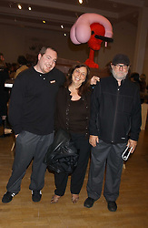 Left to right, DAMON McCARTHY, with his parents KAREN McCARTHY and artist PAUL McCARTHY at an opening party for artist Paul McCarthy's exhibition 'LaLa Land Parody Paradise' held at the Whitechapel Gallery, 80-82 Whitechapel High Street, London E1 on 22nd October 2005.<br /><br />NON EXCLUSIVE - WORLD RIGHTS