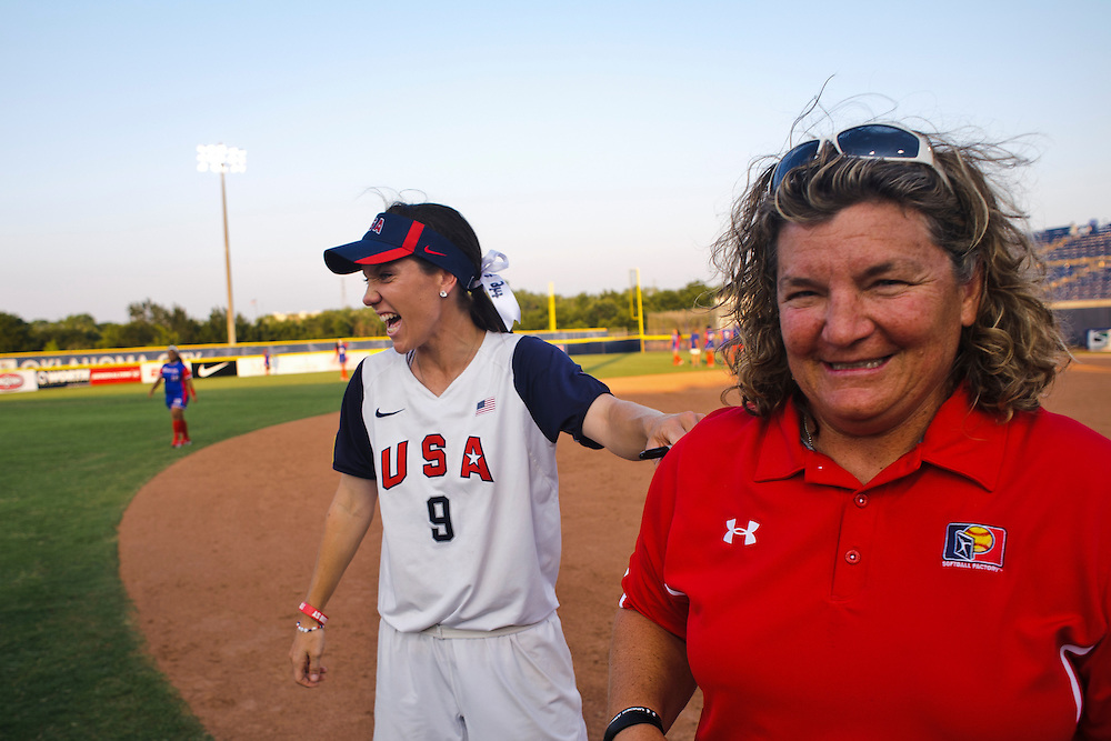 (photo by Matt Roth).Thursday, June 28, 2012..USA Softball Women's National Team signs autographs with participants of Softball Factory's World Cup event after shutting out Puerto Rico 8-0 to open World Cup VII  at ASA Hall of Fame Stadium in Oklahoma City, Oklahoma Thursday, June 28, 2012.