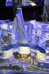 Model of proposed new luxury shopping and hotel property development at Mall of the World by developer Dubai Holding at property trade fair in Dubai United Arab Emirates