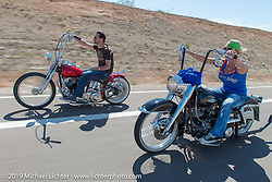 """Johnny Zappia on his Panhead and Sara Shope on her Shovel on Diva Amy's """"Helping With Horsepower"""" fundraiser ride to help with Laura Klock's wonderful charity during Arizona Bike Week Wednesday April 3, 2014.  Photography ©2014 Michael Lichter."""