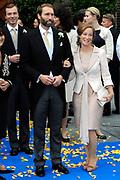 Bruiloft van Viktória Cservenyák met prins Jaime de Bourbon de Parme in de Onze Lieve Vrouwe ten Hemelopnemingkerk, Apeldoorn.<br /> <br /> Wedding of Viktoria Cservenyák with Prince Jaime de Bourbon Parme in Our Lady at Ascension Church, Apeldoorn.<br /> <br /> Op de foto / On the photo: <br /> <br /> <br /> <br />  Prinses Margarita de Bourbon de Parme en Tjalling ten Cate /  Princess Margarita de Bourbon de Parme and Tjalling ten Cate