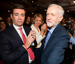 © Licensed to London News Pictures. 12/09/2015. London, UK. JEREMY CORBYN walking past ANDY BURNHAM and YVETTE COOPER following the announcement of the new leader of the Labour Party at the QEII centre in Westminster, London on September 12, 2015. Former leader ED Miliband resigned after a heavy defeat at the last election. Photo credit: Ben Cawthra/LNP