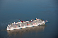 Aerial image of the cruise ship Carnival Pride in Maryland Waters at the Patapsco River