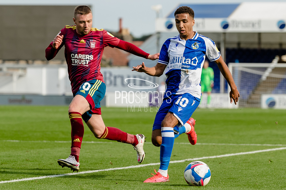 Bristol Rovers forward Jayden Mitchell-Lawson (10) attacks Ipswich Town forward Freddie Sears (20) during the EFL Sky Bet League 1 match between Bristol Rovers and Ipswich Town at the Memorial Stadium, Bristol, England on 19 September 2020.