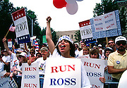 Supporters of Texas billionaire businessman  Ross Perot and the Reform Party staged rallies and demonstrations around the United States to draft Perot as a presidential candidate in the 1992 election.<br /> In the 1992 election, he received 18.9% of the popular vote, approximately 19,741,065 votes -but no electoral college votes - making him the most successful third-party presidential candidate in terms of the popular vote since Theodore Roosevelt in the 1912 election.