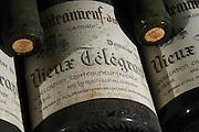 old bottles in the cellar 1995 la crau dom du vieux telegraphe chateauneuf du pape rhone france
