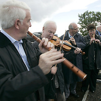 Musicians Mick O'Connor, John Kelly, Michael Tubridy and Brid O'Donoghue playing at the Musical Tribute at Willie Clancy's Grave during the 33rd Willie Clancy Summer School in Milltown Malbay Co. Clare.  Pic.Brian Gavin/Press 22