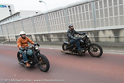 The Race of Gentlemen's Bobby Green alongside Nick Toscano on a ride around Tokyo with friends of the shop around Tokyo, Japan. December 8, 2015.  Photography ©2015 Michael Lichter.
