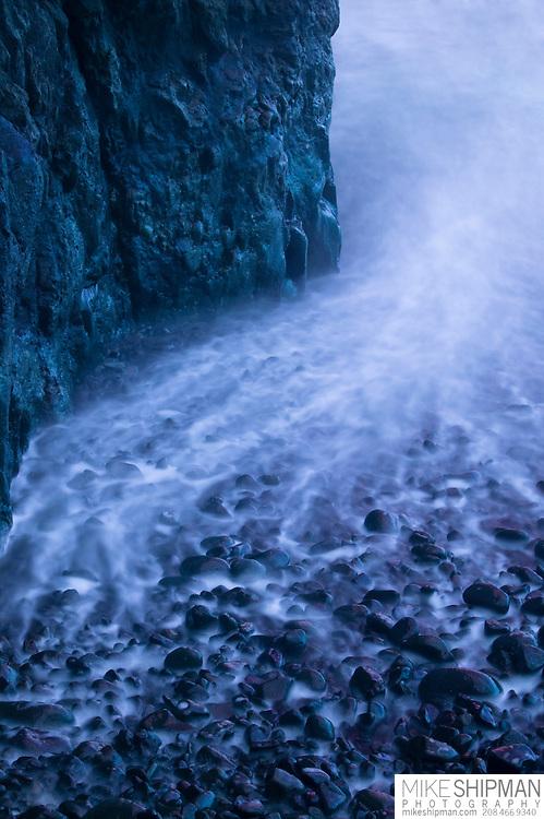 Three Arch Rocks cobble beach and surf, Oregon, Tillamook County
