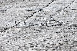 THEMEBILD - Das Skigebiet am Kaunertaler Gletscher im Sommer. Hier im Bild Besucher zur begehbaren Gletscherspalte. Aufgenommen am 3. August 2015 // The ski area at the Kaunertal Glacier in summer. Pictured on 8th August 2015 in Austria. EXPA Pictures © 2015, PhotoCredit: EXPA/ Johann Groder