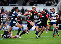 Ulster Ravens' Roger Wilson is challenged by Bristol Rugby's Tristan Roberts and Bristol Rugby's Ben Mosses - Photo mandatory by-line: Dougie Allward/JMP  - Tel: Mobile:07966 386802 21/10/2012 - SPORT - Rugby Union - British and Irish Cup -  Bristol  - The Memorial Stadium - Bristol Rugby V Ulster Ravens