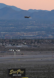 September 14, 2018 - Las Vegas, NV, U.S. - LAS VEGAS, NV - SEPTEMBER 14: A United States Air Force F-35 fighter jet takes off with full afterburner from Nellis AFB during the NASCAR Camping World Truck Series Playoff Race World of Westgate 200 on September 14, 2018, at the Las Vegas Motor Speedway in Las Vegas, NV. (Photo by Chris Williams/Icon Sportswire) (Credit Image: © Chris Williams/Icon SMI via ZUMA Press)