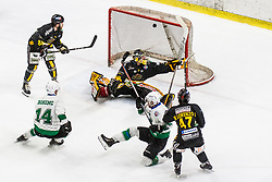 KUJAVEC Anej of HK SZ Olimpija scoring goal against Colin Furlong of HC Pustertal Wolfe during Ice Hockey match between HK SZ Olimpija and HC Pustertal Wolfe in 6th Final game of Alps Hockey League 2018/19, on April 19th, 2019, in Hala Tivoli, Ljubljana, Slovenia. Photo by Grega Valancic