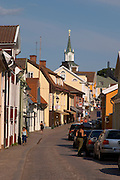 Street scene from the rural town of Vimmerby famous for its wooden houses and for Astrid Lindgren. Vimmerby town Smaland region. Sweden, Europe.