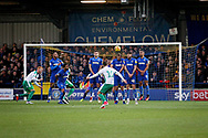 Plymouth midfielder Graham Carey (10) with a free kick that went just wide during the EFL Sky Bet League 1 match between AFC Wimbledon and Plymouth Argyle at the Cherry Red Records Stadium, Kingston, England on 26 December 2018.