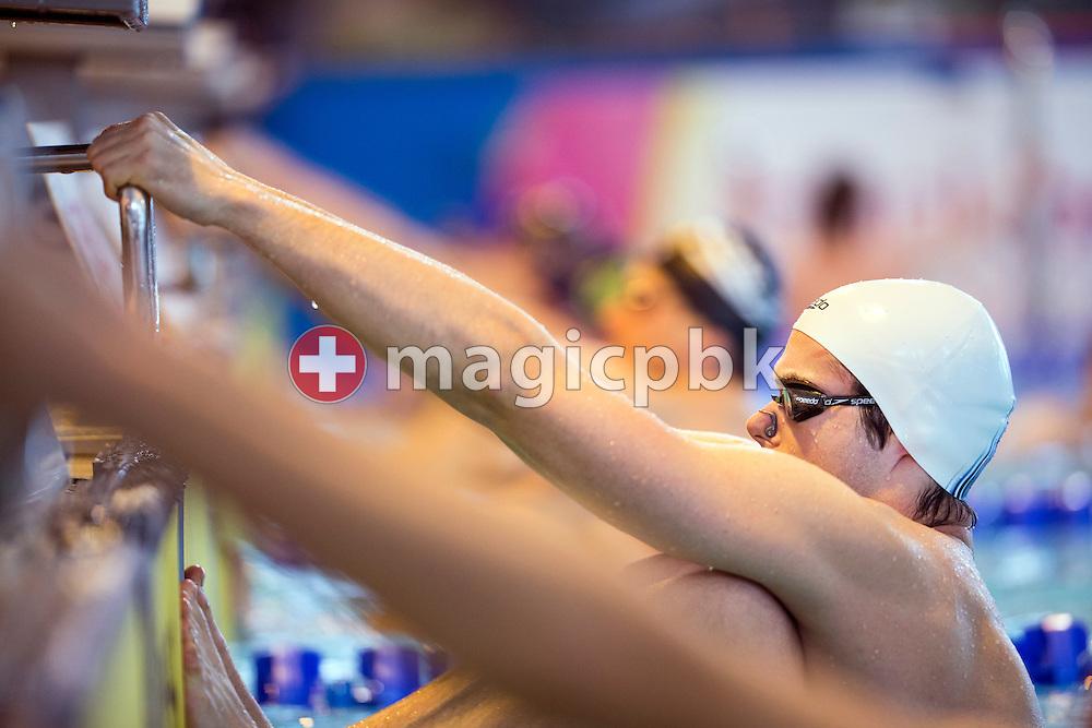 Sven PFEUTI of Switzerland competes in the men's 100m Backstroke Heats during the International Swim Meet Uster 2015 in Uster, Switzerland, Sunday, Jan. 25, 2015. (Photo by Patrick B. Kraemer / MAGICPBK)