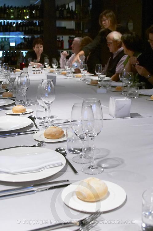 Lunch or dinner table. Restaurant Cal Blay, Sant Sadurni d'Anoia, Catalonia, Spain.